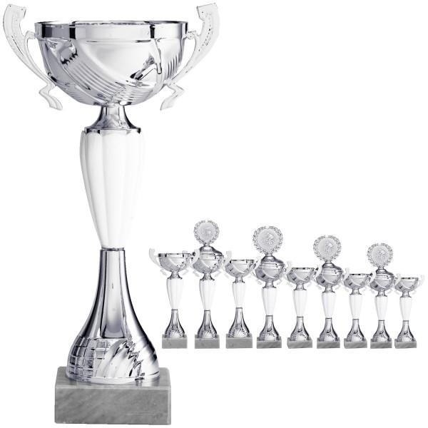 Silberner Henkelpokal mit weißem Mittelteil (Artikel 8650) ohne Deckel und (Artikel 9650) mit Deckel
