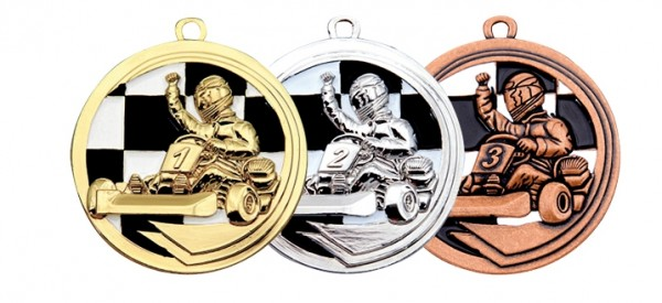 Kart-Medaille 50mm in drei Farben (Artikel 103)