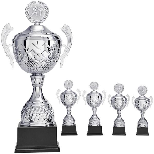 Silberner Pokal mit geprägter Schale und Henkel (Artikel 9290)