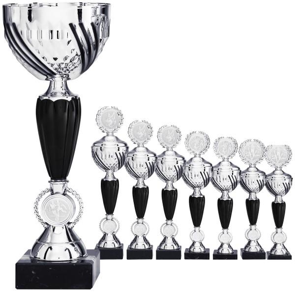 Silberner Pokal mit schwarzen Elementen ohne Deckel (Artikel 8530) und mit Deckel (Artikel 9530)