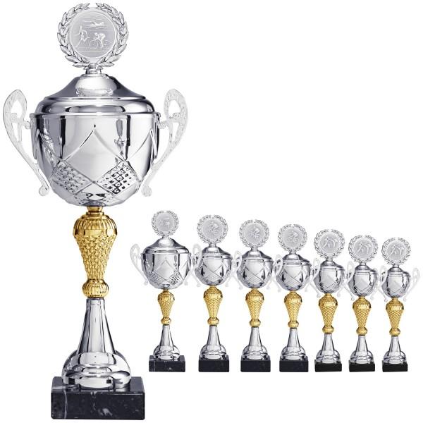 Edle Pokalserie mit Henkel in Silber mit goldenem Mittelteil (Artikel 9520)