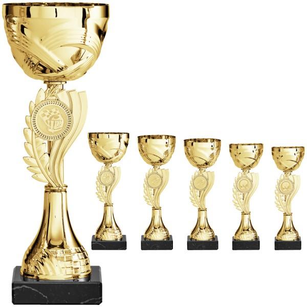 Goldene Pokalserie mit neu designten Emblemhalter mittig (Artikel 8060)