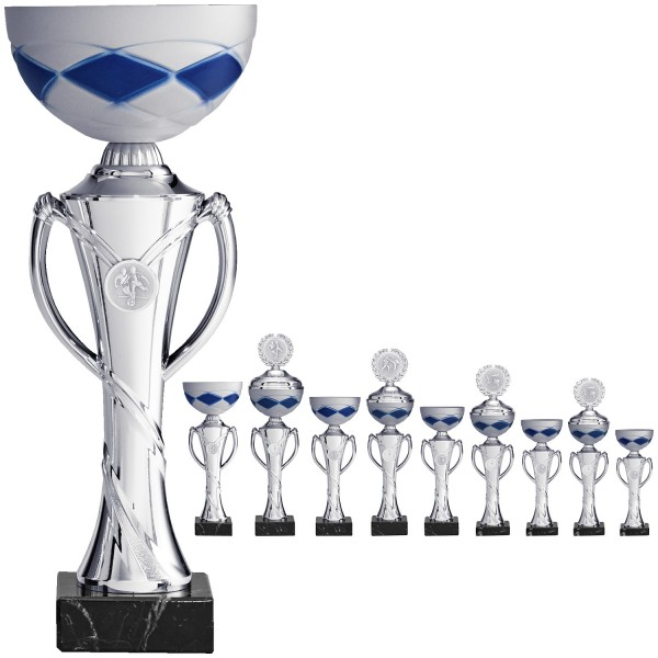 Neue silberne/matte Pokalserie mit Henkel (Artikel 9670) mit Deckel oder (Artikel 8670) ohne Deckel