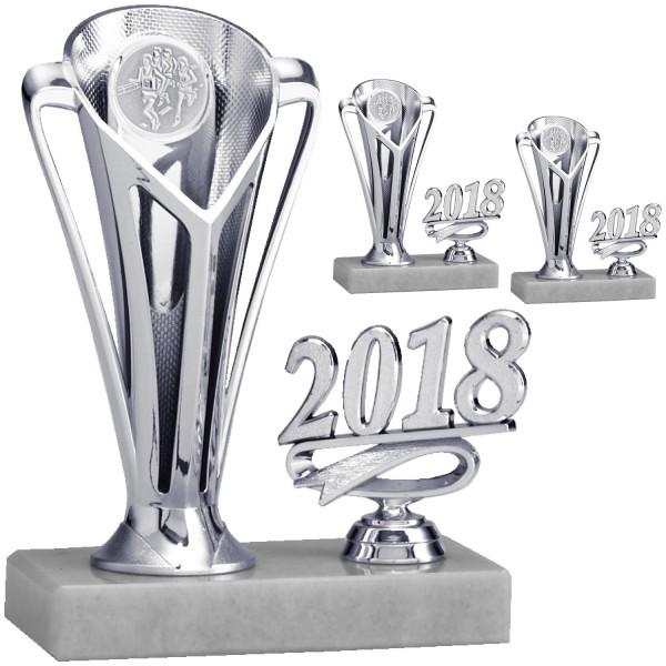 Silberner Pokal mit Jahreszahl auf breitem Marmorsockel (Artikel 8104)