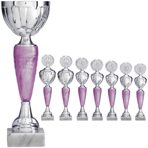 Silberner Pokal mit perlmuttrosa Elementen ohne Deckel (Artikel 8780) mit Deckel (Artikel 9780)