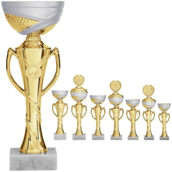 Pokal in Gold mit Henkel (Artikel 8770 o.D.) und (Artikel 9770 m.D.)