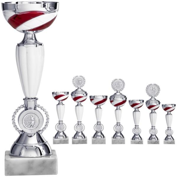 Silber-weisser Pokal mit rot-weissen Schalendesign (Artikel 8950 o.D.) und (Artikel 9950 m.D.)