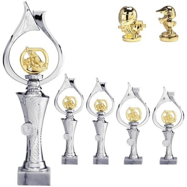 Motorsportaufsteller Silber mit Figur in Gold (Artikel 4650)