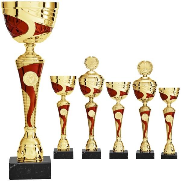 Schwungvoller gold-roter Pokal (Artikel 8560 o.D) und Artikel (9560 m.D.)
