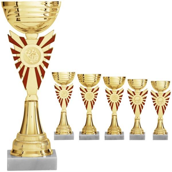 Pokal in Gold mit rot-goldenem Mittelteil (Artikel 8450)