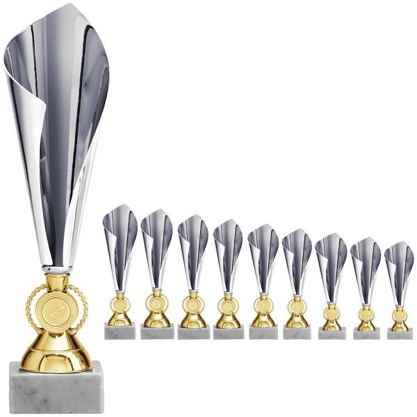 Elegante Pokalalternative in Silber und Gold mit Emblemhalter im Fuß (Artikel 2090)