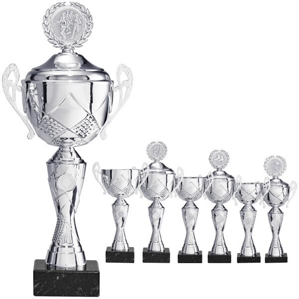 Klassischer eleganter Pokal in Silber mit Henkel (Artikel 8370) ohne Deckel und (Artikel 9370) mit D