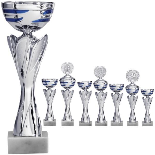Silberner Pokal mit blau-silbernen Schalenmuster (Artikel 8470 o.D.) und (Artikel 9470 m.D.)