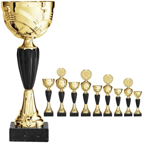 Edler goldener Pokal mit schwarzen Elementen (Artikel 8570) ohne Deckel und (Artikel 9570) mit Decke