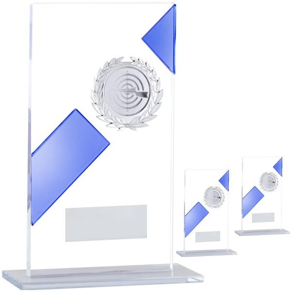 Schlichte Glastrophäe mit blauem Balken (Artikel 203)