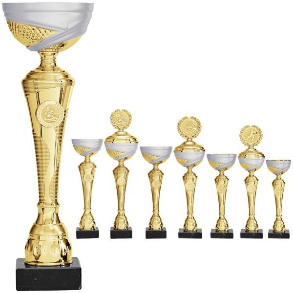 Pokal in Gold mit silbermatten Schalendesign (Artikel 2030 ohne Deckel) und (Artikel 3030 mit Deckel