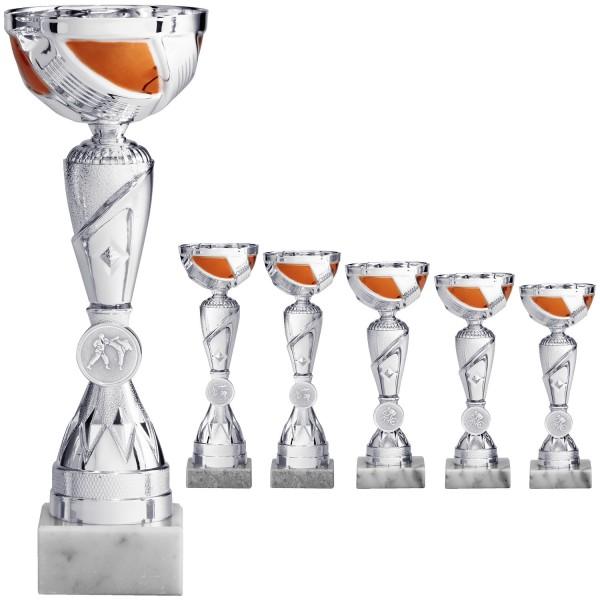 Silberner Pokal mit silber-orangefarbiger Schale und Emblemhalter am Fuß (Artikel 8090)