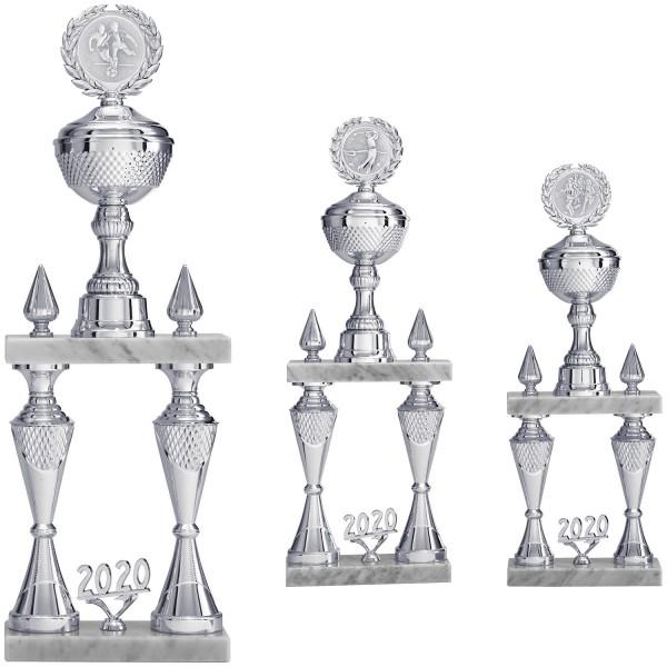 Edler Säulenpokal in Silber mit weißem Carrara Marmor (Artikel 9797)