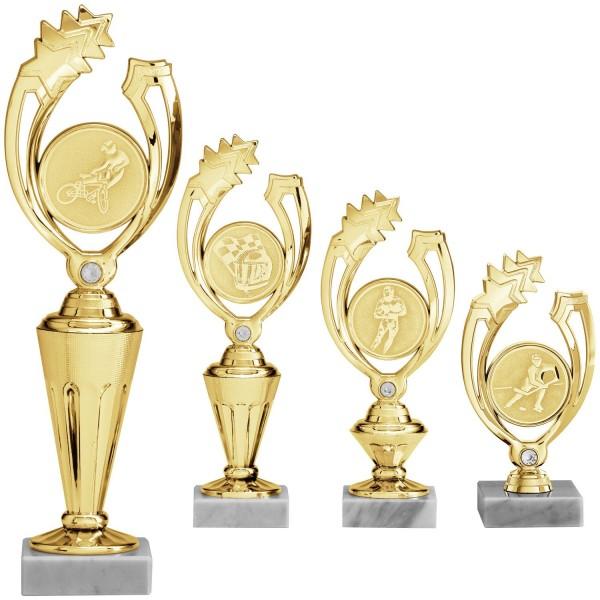 Moderner Ehrenpreis Gold mit Marmorsockel und Glasstein (Artikel 121)