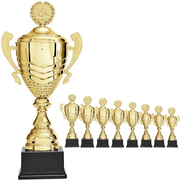 Goldener Siegerpokal symmetrischer Strukturprägung und Henkel(Artikel 9440)