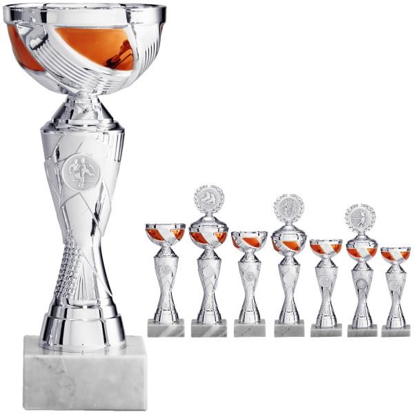 Pokal Silber designt mit silber-orangefarbiger Schale (Artikel 8410) ohne Deckel, (Artikel 9410) mit
