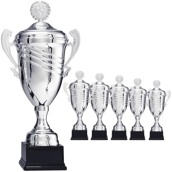 Großer edler Siegerpokal mit Henkel in Silber (Artikel 8820) ohne Deckel (Artikel 9820) mit Deckel