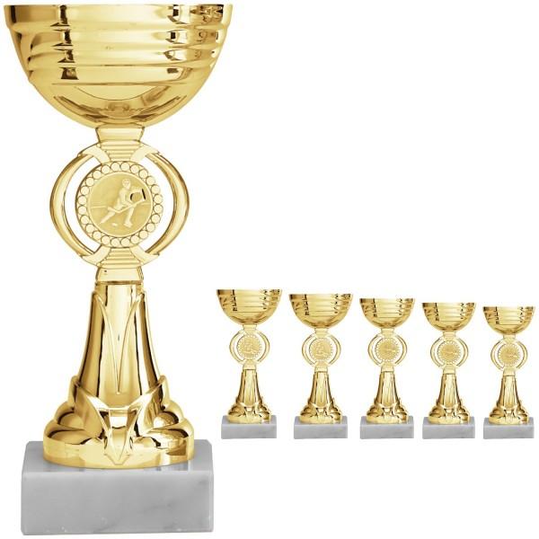 Schlichter goldener Pokal mit Emblemhalter (Artikel 8460)