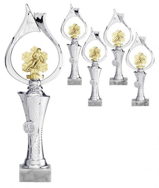 Wintersportaufsteller Silber mit Figur in Gold (Artikel 4701)