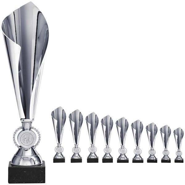 Elegante Pokalalternative in Silber mit Emblemhalter im Fuß (Artikel 8240)