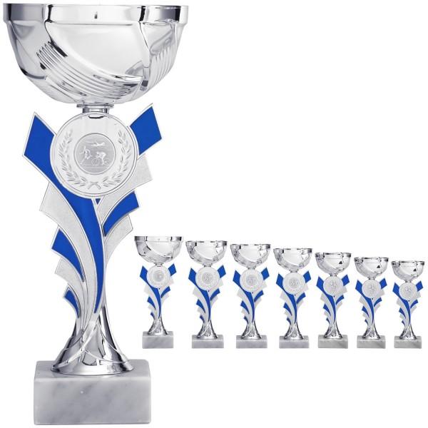 Silberner Pokal mit blauen Elementen (Artikel 8020)