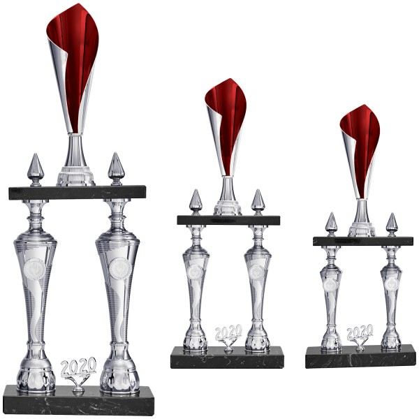Eleganter Säulenpokal in Silber/Rot mit schwarzem Marmor (Artikel 4153)
