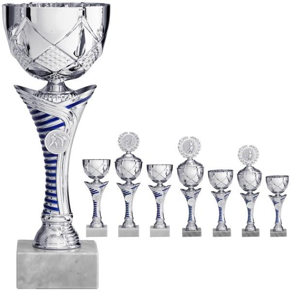Silberner Pokal mit blau/silber gestreiftem Mittelteil (Artikel 8720) ohne Deckel (Artikel 9720) mi