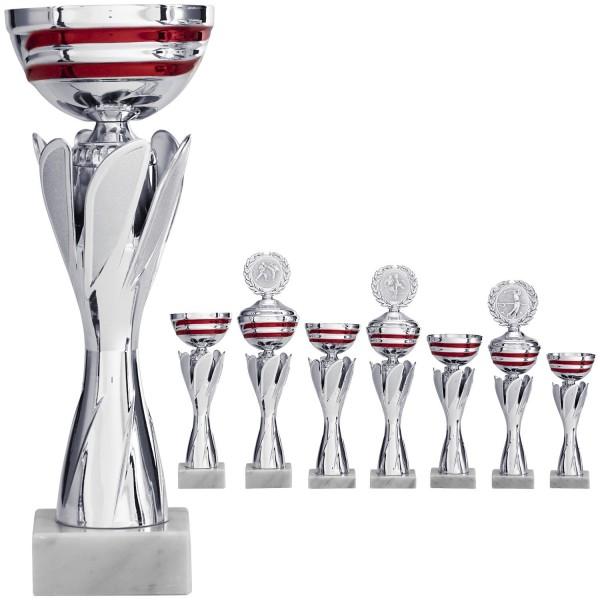 Silberner Pokal mit roten Designelementen (Artikel 8180 o.D.) und (Artikel 9180 m.D.)