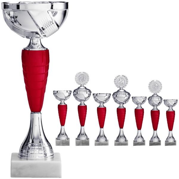 Silberner Pokal mit rotem Mittelteil (Artikel 8600) ohne Deckel, (Artikel 9600) mit Deckel