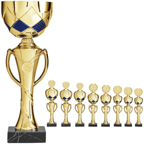 Gold-Blaue Pokalserie mit Henkelmittelteil (Artikel 9320) mit Deckel oder (Artikel 8320) ohne Deckel