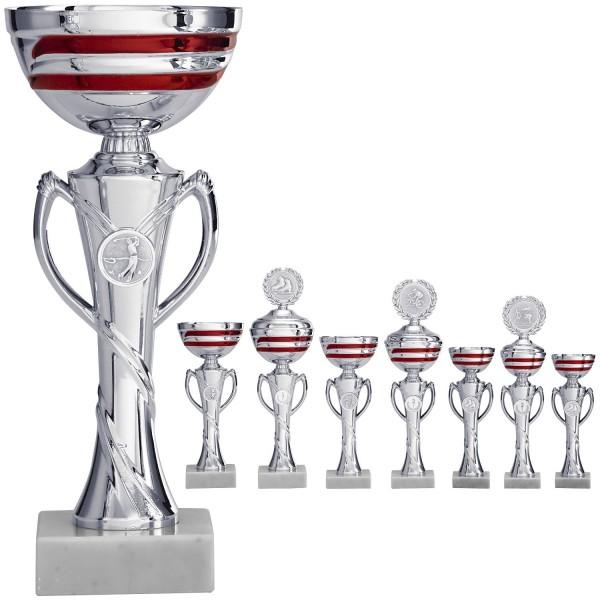 Edle Pokalneuheit in Silber mit roten Elementen (Artikel 8170 o.D.) und (Artikel 9170 m.D.)
