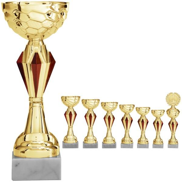 Goldener Pokal mit roten Ornamenten (Artikel 8110 o.D.) und (Artikel 9110 m.D.)