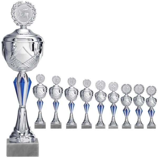 Silberner Pokal mit Ornamenten in Blau (Artikel 9220)