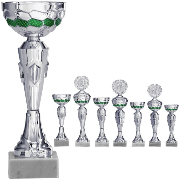 Silberner Pokal mit grünen Schalenelementen (Artikel 8150 o.D.) und (Artikel 9150 m.D.)