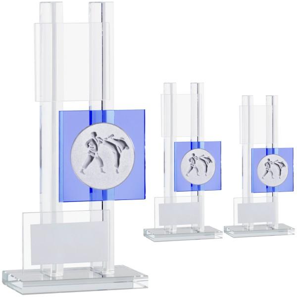 Hochwertige besonders designte Glastrophäe mit Blau (Artikel 206 207 208)