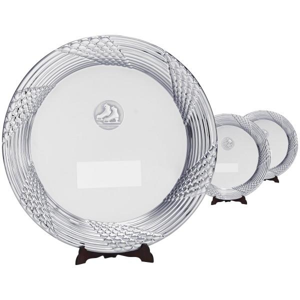 Filigraner Metallteller Silber in drei Größen (Artikel 125)