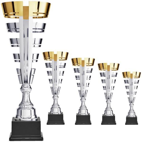 Silberne Siegertrophäe im außergewöhnlichen Design und oben mit einem goldenem Rand (Artikel 8350)
