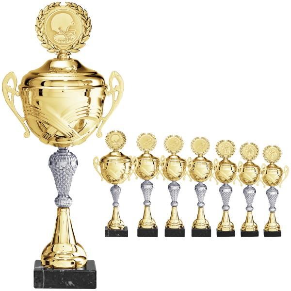 Edle Pokalserie mit Henkel in Gold mit silbernen Mittelteil (Artikel 2060)
