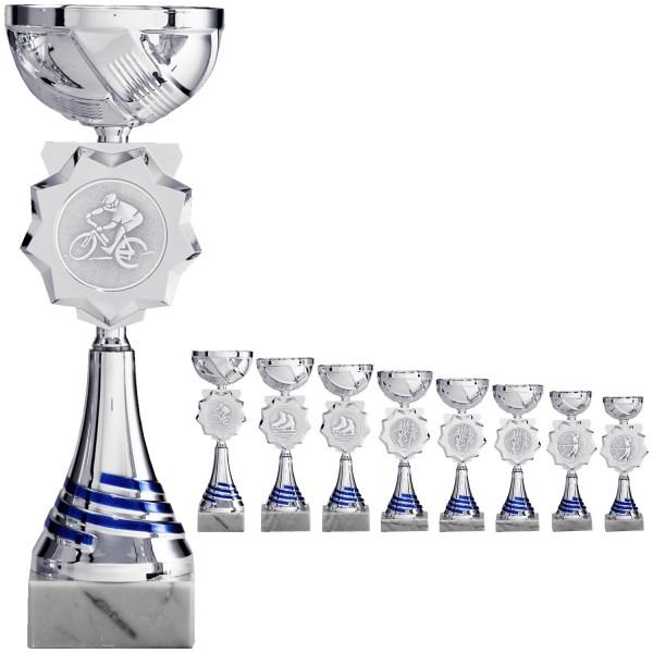 Neuer Pokal in Silber mit blauen Elementen, Emblemhalter in Sternform (Artikel 8220)