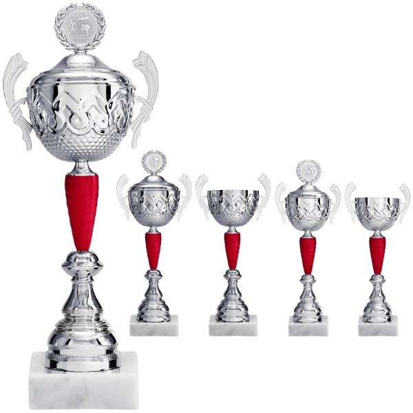 Henkelpokal in Silber mit rotem Element (Artikel 2070)