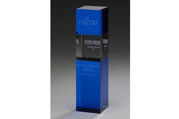 """Hochwertige Kristallglas-Trophäe """"Indigo Cubix"""" (Artikel 79053)"""