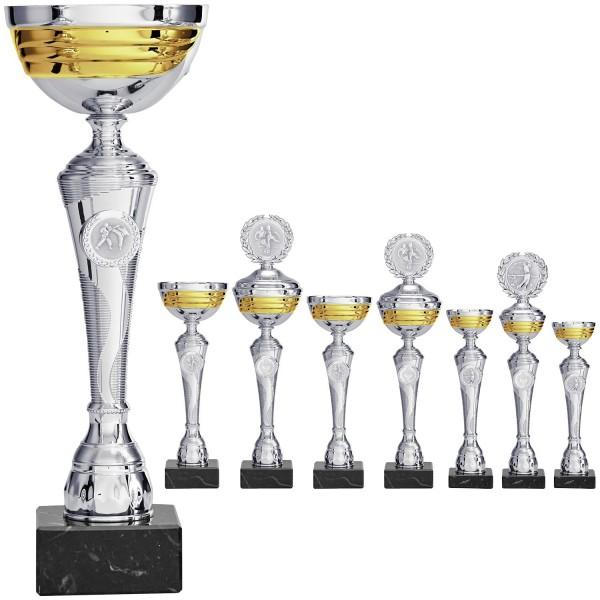Edler silberner Pokal mit goldenen Einflüssen (Artikel 8900 o.D.) und (Artikel 9900 m.D.)