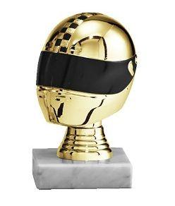Motorsportaufsteller mit 3D Helm in Gold (Artikel 4623)