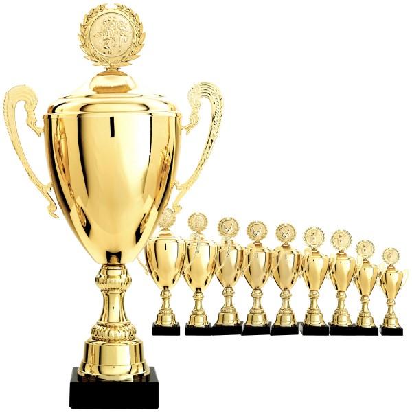 Goldener Pokal mit Deckel und Henkeln (Artikel 9460)