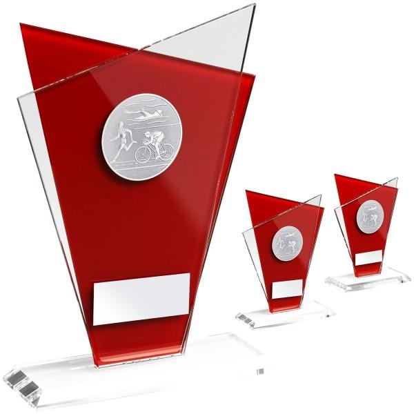 Attraktiver Glaspokal mit rotem Glaselement (Artikel 207)